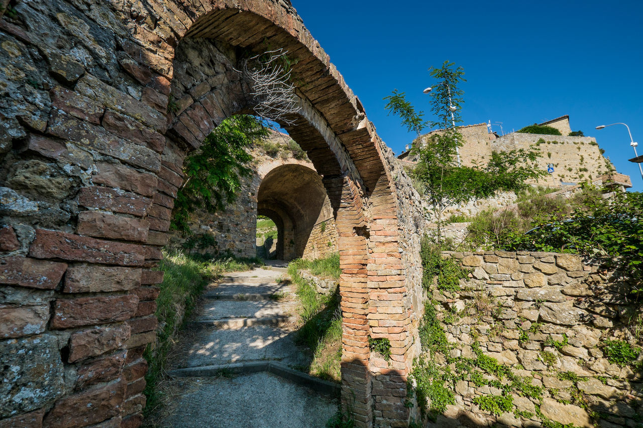 architecture, built structure, stone wall, history, arch, day, brick wall, old ruin, outdoors, low angle view, castle, ancient, no people, building exterior, clear sky, tree, ancient civilization, sky, nature