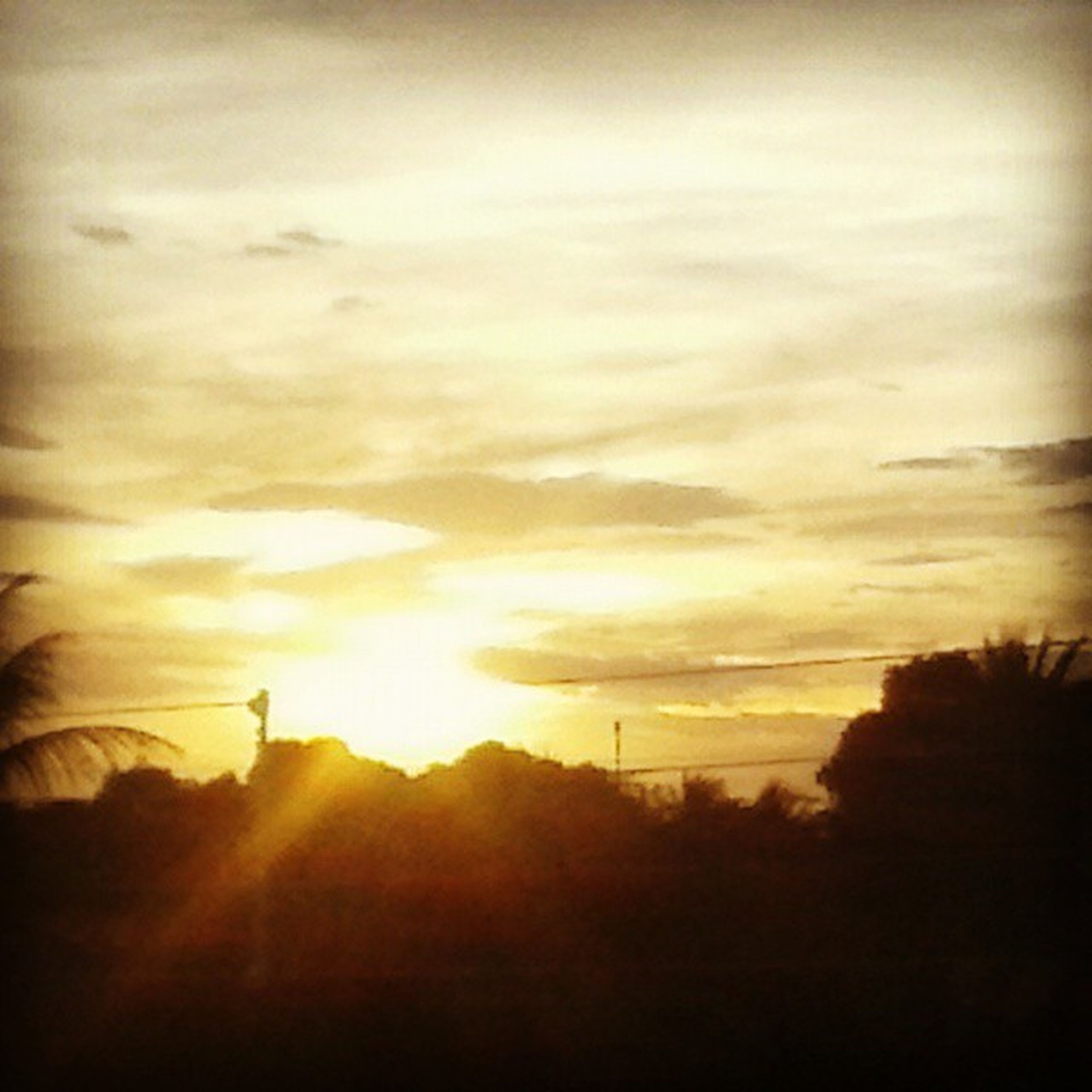 sunset, silhouette, sky, sun, tranquility, tranquil scene, scenics, beauty in nature, landscape, orange color, nature, cloud - sky, idyllic, sunlight, tree, field, cloud, sunbeam, outdoors, no people