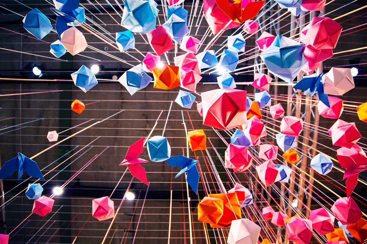 Multi Colored Origami Day Lights Ceiling Design Papercraft Paper Colour Explosion Coloured Paper Sky Beauty Lookingup ArtWork Art Crafts Hanging Berlin Millennial Pink