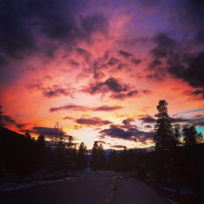 KeystoneSkiResort Colorado Snowboard Winter Sunset Pink Pine Trees Sports Denver,CO