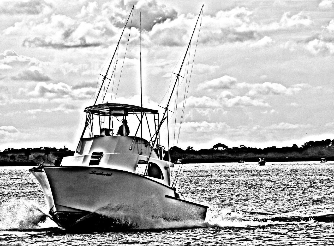 Great Day to go fishing... Beauty In Nature Boat Cloud - Sky Day Fishing Boat Mode Of Transport Moored Nature Nautical Vessel No People Ocean Oil Pump Outdoors Ponce Inlet New Smyrna Beach Sea Sky Transportation Tree Water