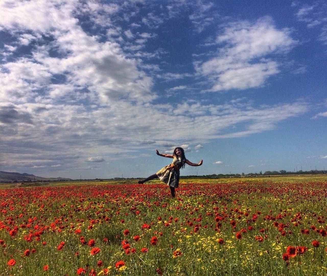 Flowers, Nature And Beauty Sky Flower Beauty In Nature Nature Freshness Fragility One Person Plant Outdoors Day Field Landscape Poppy Flowers Poppy Fields Red Flower EyeEmNewHere