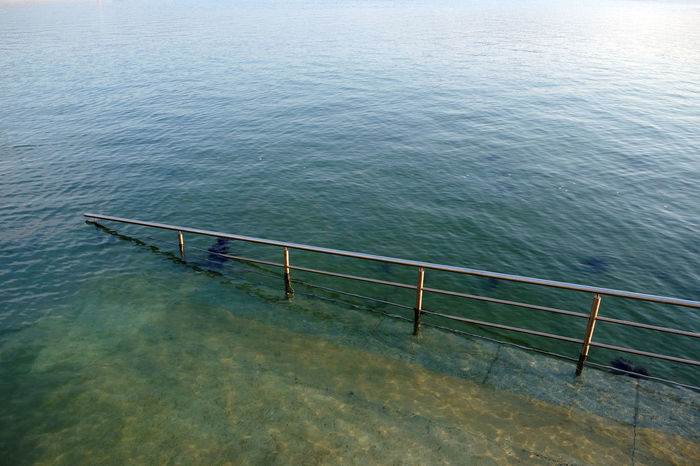 Beauty In Nature Day Fence Flooded High Angle View High Tide Nature No People Ocean Ortigueira, Galicia, Spain Outdoors Port Railing Ramp Scenics Sea Seaside Spring Tranquil Scene Tranquility Village Water The Great Outdoors - 2017 EyeEm Awards