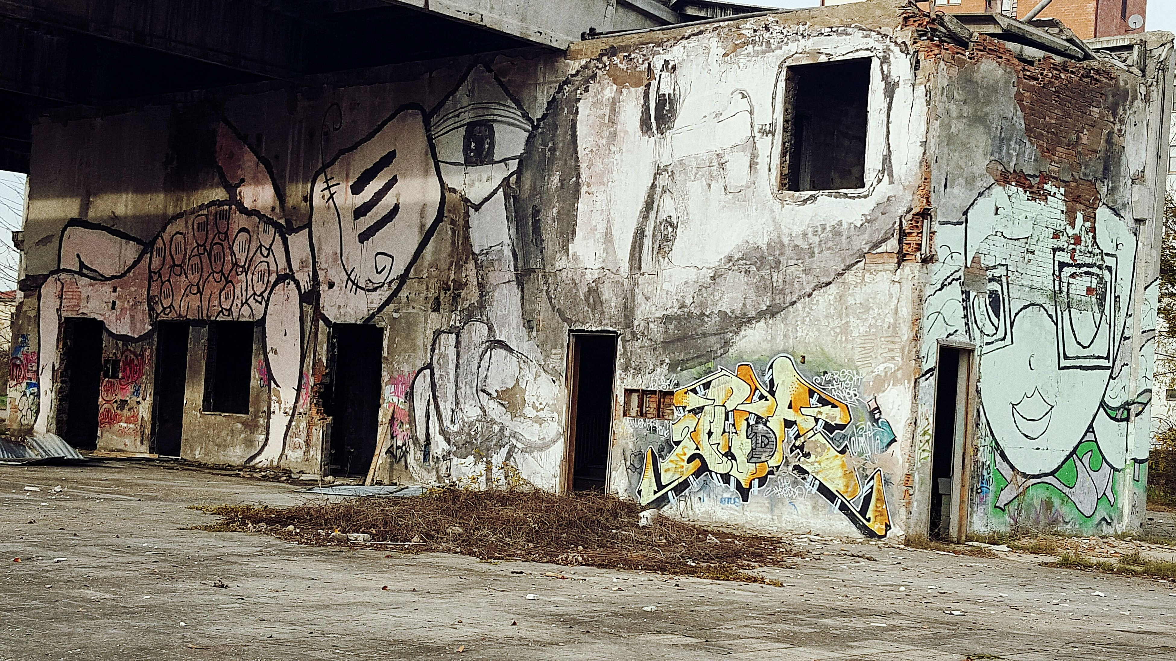 architecture, built structure, building exterior, graffiti, abandoned, window, wall - building feature, house, damaged, building, old, obsolete, residential structure, wall, deterioration, residential building, weathered, run-down, door, brick wall