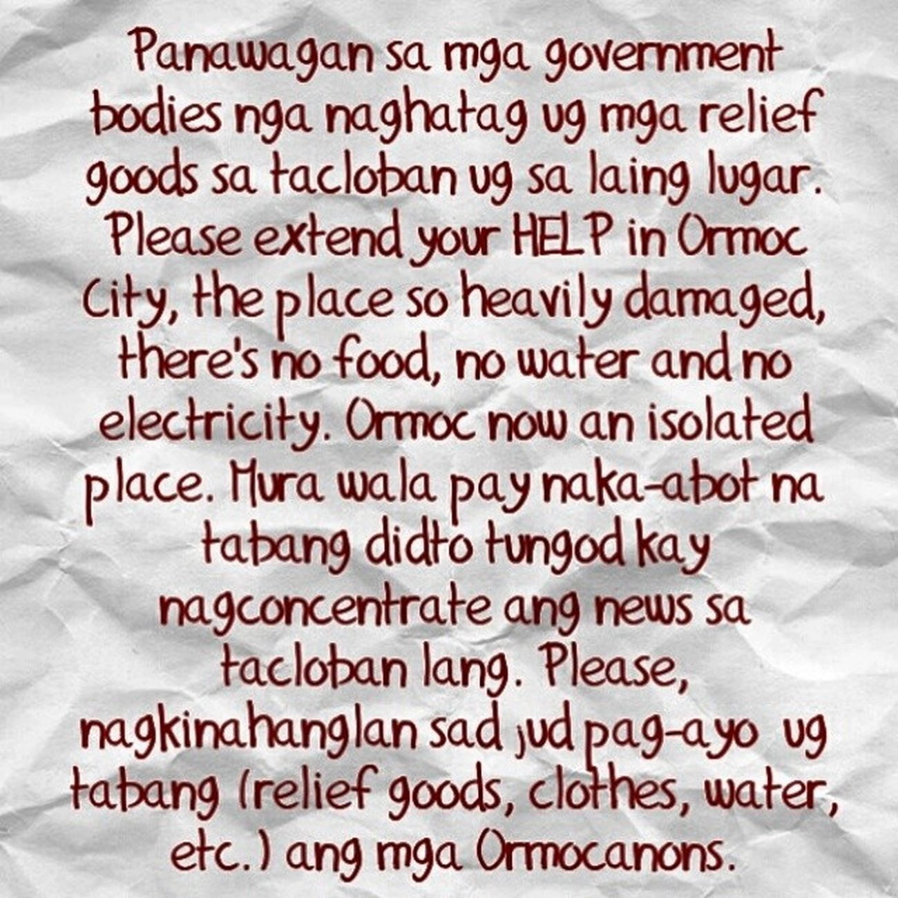 Panawagan - Bangonormoc Ormoc OrmocCity Typhoonyolanda help reliefgoods badlyneededhelp help panawagan governmentbodies media news gma gmanewstv abscbn cnn yolanda helpormoc