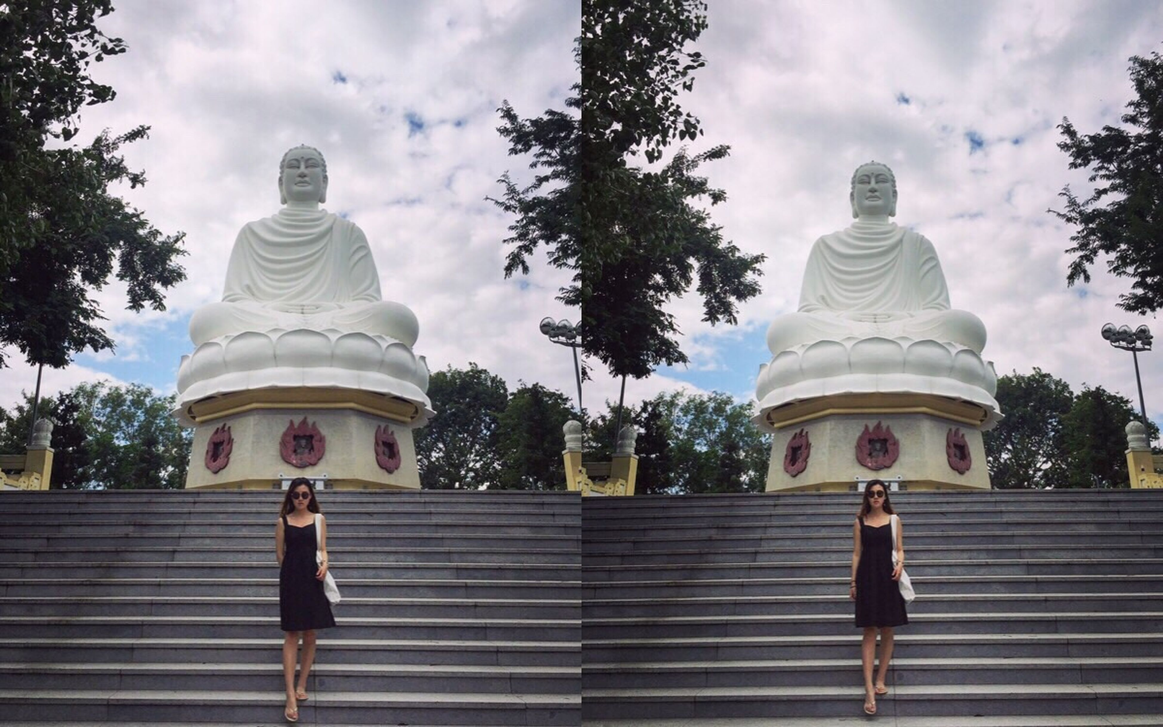 religion, spirituality, place of worship, sky, cloud - sky, travel, pagoda, travel destinations, architecture, outdoors, day, gold colored, building exterior, tree, statue, no people