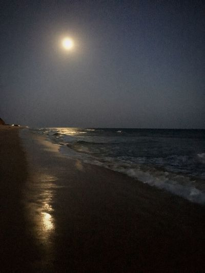 Moonlight serenade... Sea Beach Water Nature Moon Scenics Beauty In Nature Tranquil Scene Tranquility Horizon Over Water Sand Reflection Idyllic Sky Outdoors No People Clear Sky Moonlight Sunset
