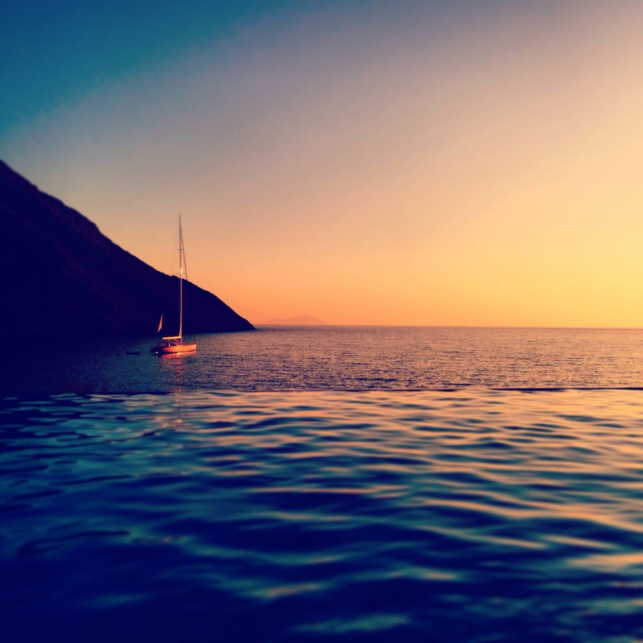 Sunset Beauty In Nature Sea Water Tranquility Tranquil Scene Nature Scenics Sky No People Idyllic Nautical Vessel Outdoors Sailboat Boat Sunlight Sunset_collection Sunset_captures Pool Greece