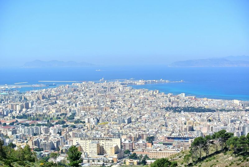 Trapani today . Cityscape Aerial View City High Angle View Business Finance And Industry Horizon Over Water Outdoors Architecture Day Sky Sea Urban Skyline Clear Sky No People Building Exterior