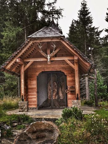 Wooden Structure Chapel Woodenchurch Deer Horns Forrest Forrestchapel Threes Wooden Building Austria Thomatal