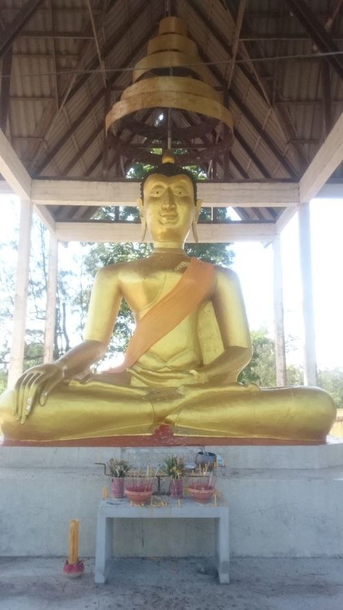 Art And Craft Buddha Buddhism Cultures Gold Religion Sitting Statue Three Quarter Length