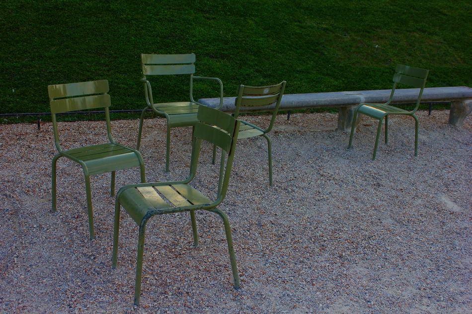 Chair Chairs Day Empty Green Color Jardin Du Luxembourg Nature No People Outdoors Seat