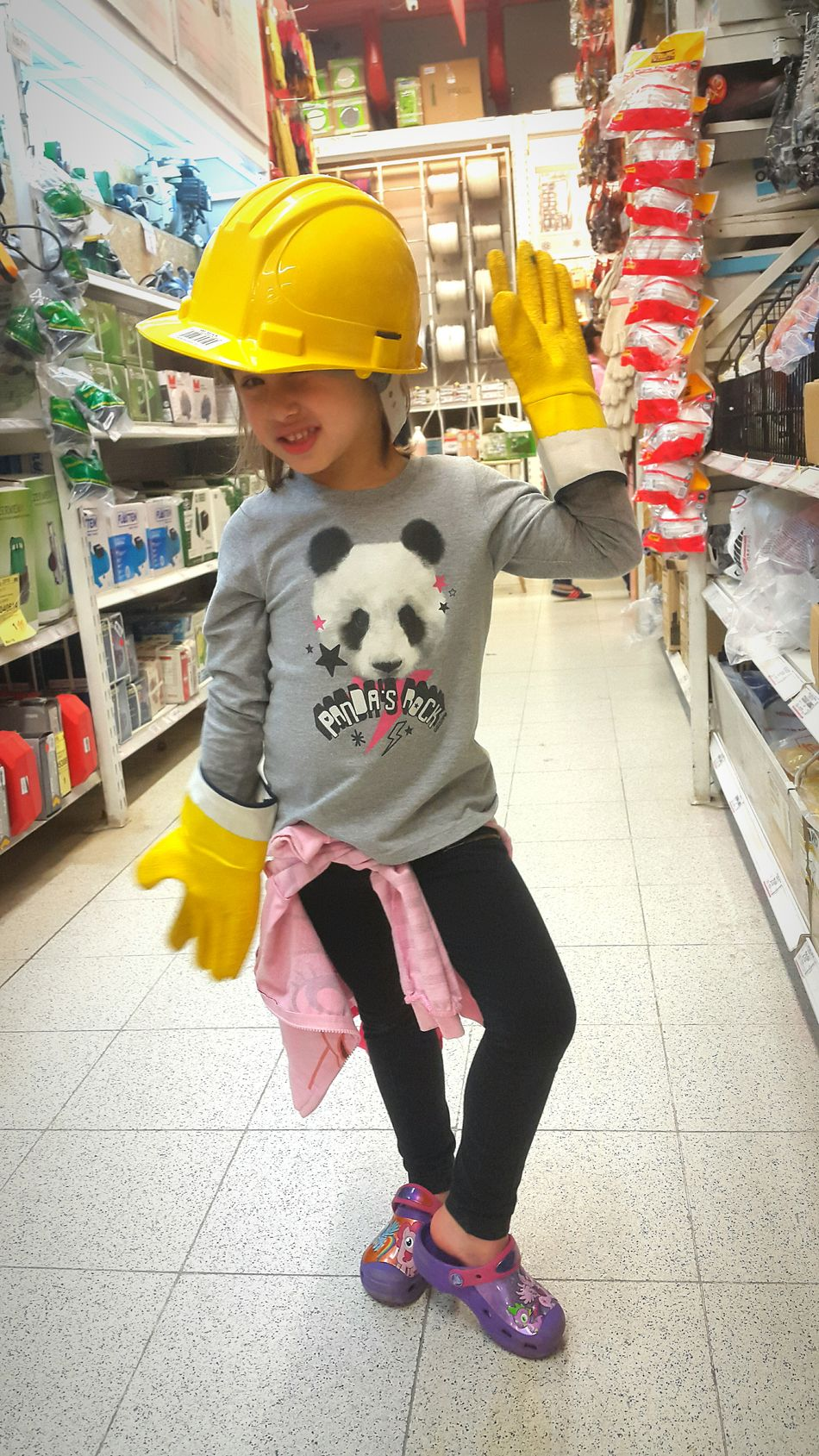 Vertical One Person Child Childhood People Buying Supermarket Safety First! Sweet Little Girl Industrialbeauty Safetyfirst Kidsportrait Kids Having Fun Kidsphotography Kids Portrait Kids Photography Yellow Gloves Safety First Yellow Hat Kids Being Kids Kids Playing Kids Industry Indoors
