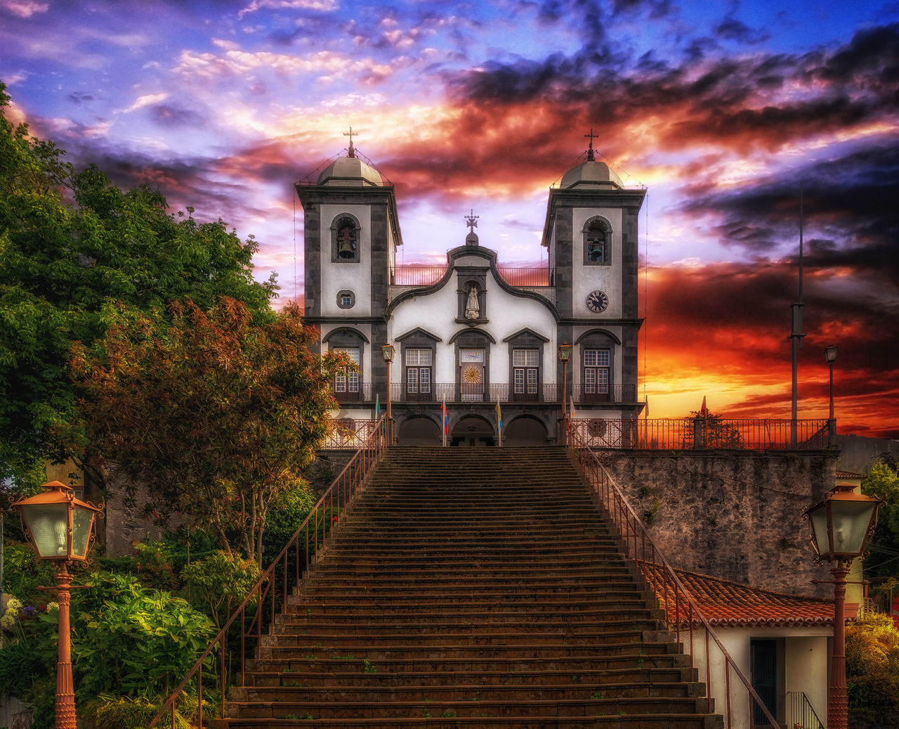 Architecture Bell Towers Building Church Cloud - Sky Day Freitreppe Madeira No People Nossa Senhora Do Monte Pilgrimage Church Potugal Religion Sky Stairway Sunrise Tree