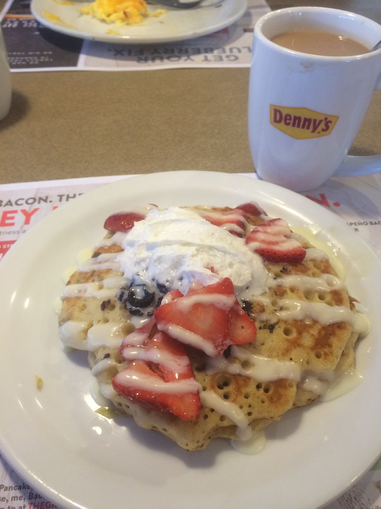 Denny's Breakfast ♥ Pancakes Hello World Tasty Unhealthy Loveit♥ Strawberry Blueberry Eyeem Food  Lifestyle