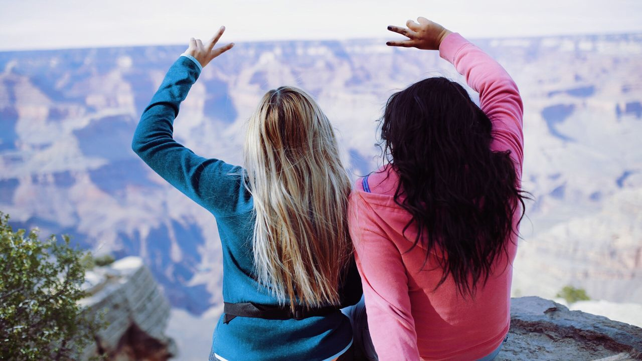 Togetherness Long Hair Rear View Standing Person Waist Up Three Quarter Length Bonding Friendship Leisure Activity Focus On Foreground Straight Hair Friends Human Hair Exoticism