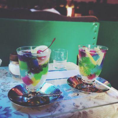 Dessert Jerry Soda Sweet Sweets Cafe Blue Goodnight 淡いブルーの甘い世界にいた。おやすみなさい。