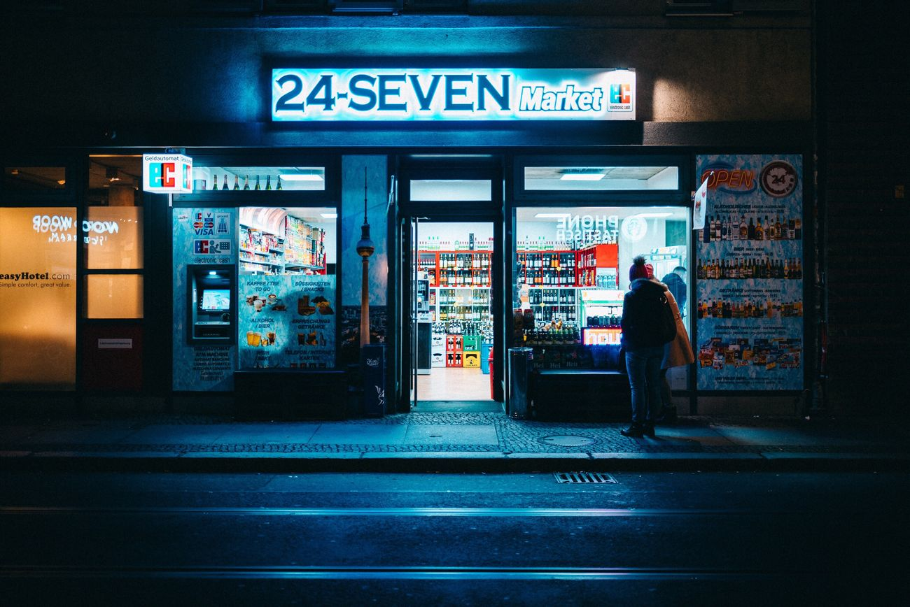 24/7 Night Store Text City Building Exterior Business Finance And Industry Customer  Illuminated People Outdoors Adult One Person Neon Colored Adults Only Nightphotography EyeEmBestPics EyeEm Best Shots Shootermag Lowlightleague Urban Light And Shadow