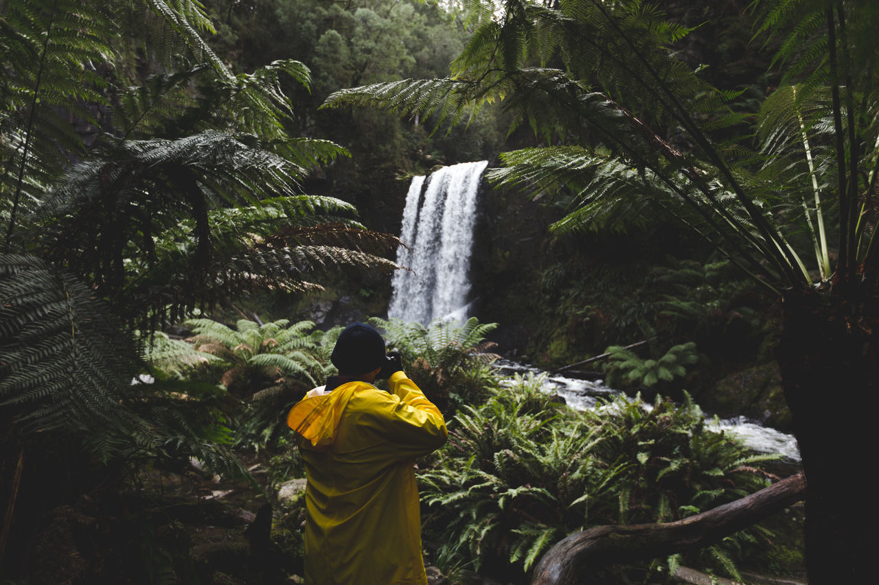 Beauty In Nature Day Nature One Person Outdoors People Photographer Rear View Scenics Tourism Travel Destinations Tree Waterfall