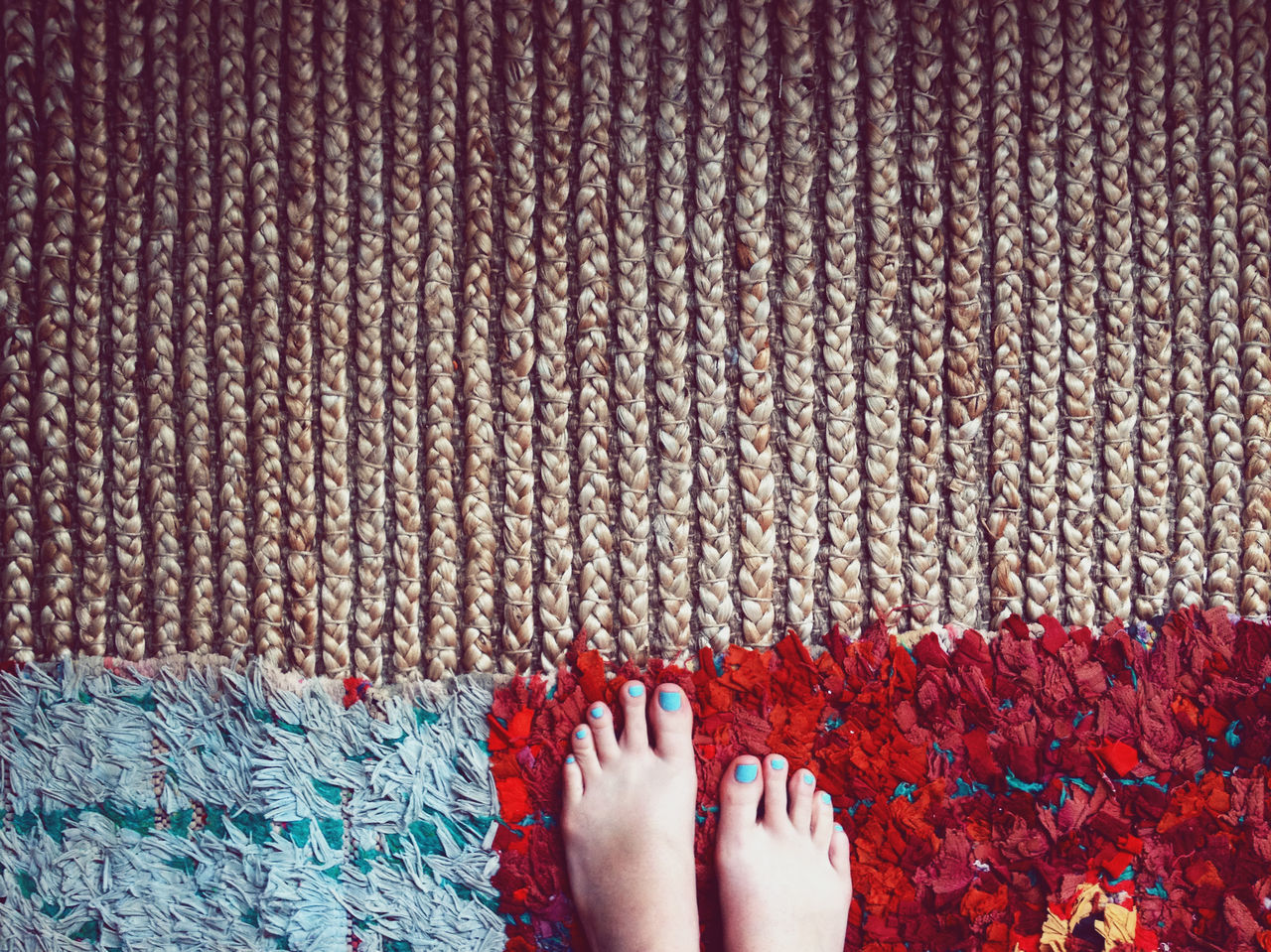 layered rugs in my home Abundance Backgrounds Bohemian Carpet Close-up Design Detail Feet From My Point Of View Human Foot Interior Interior Design Layering Low Section Multi Colored Nailpolish Part Of Personal Perspective Pink Color Red Room For Text Rug Style Teal Unrecognizable Person