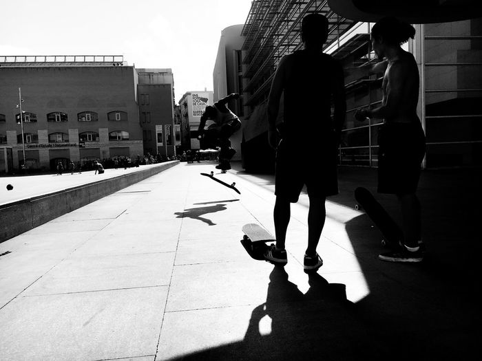 Real People Men Architecture Built Structure City Lifestyles Adult Light And Shadow Blackandwhite Skateboarding Barcelona Museum Contemporary Macba  Trick  Art Sky Photooftheday Outdoors First Eyeem Photo