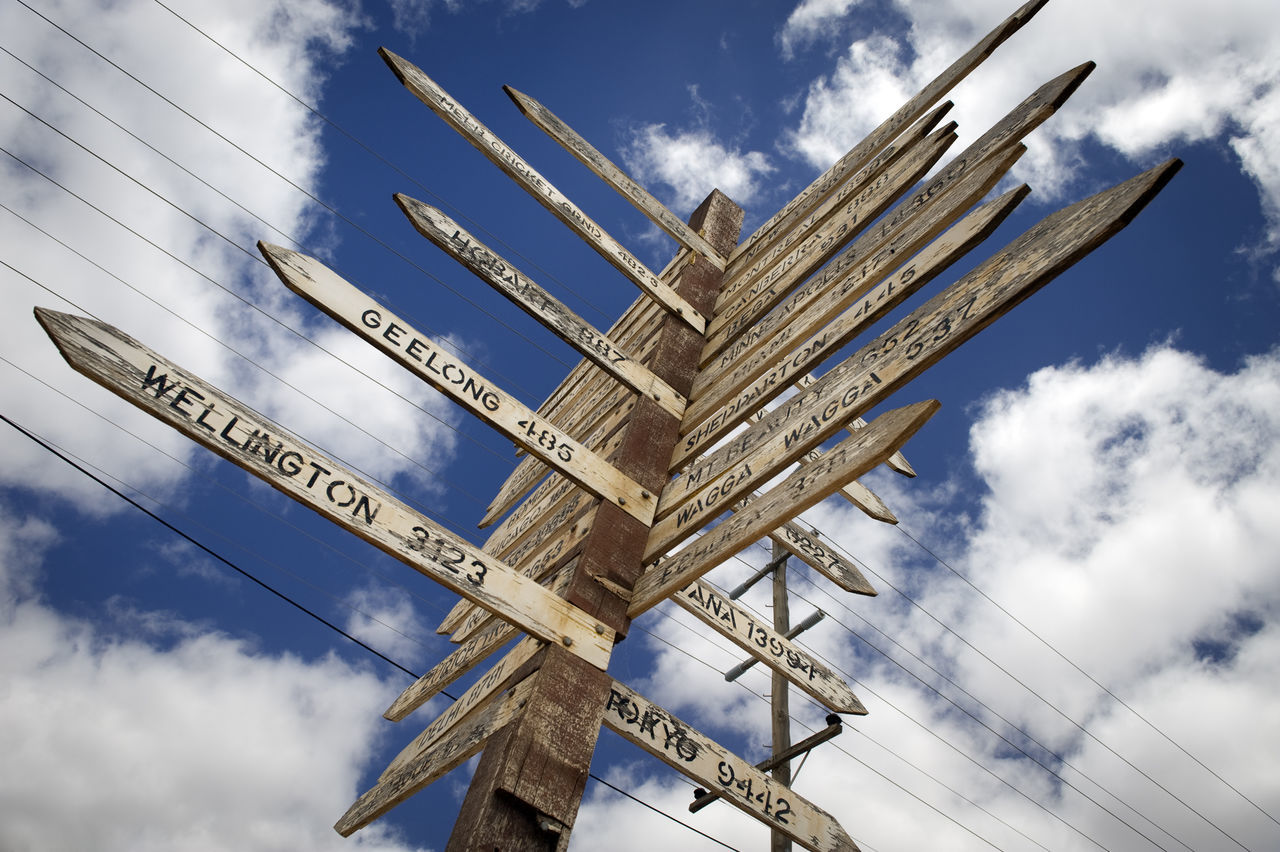Low Angle View Of Wooden Directional Signs Against Cloudy Sky