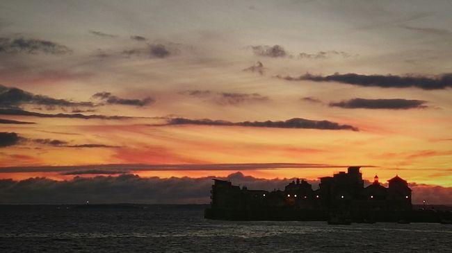 Sea Island Water Hightide Twilight Twilight Sky Shillouette Clouds Red Sky