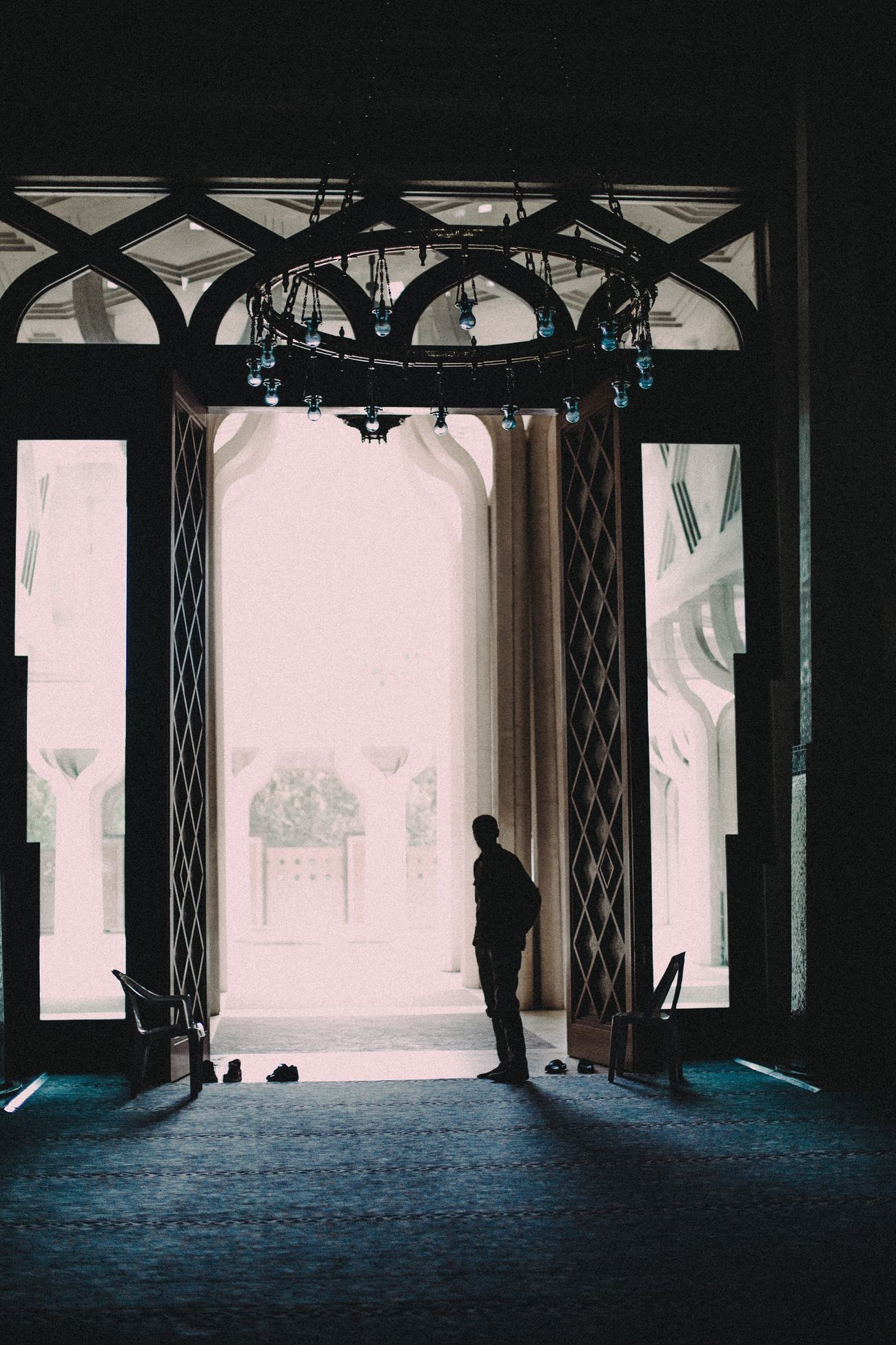 Canon Mosque Indoors  Full Length One Person Architecture Islamic Architecture Islamic Religion Islam EyeEm Best Shots The Week Of Eyeem The Week On EyeEem Photooftheday Indoors  Multi Colored Built Structure Arch Design EyeEm Meditation Spirituality Waiting People Photography