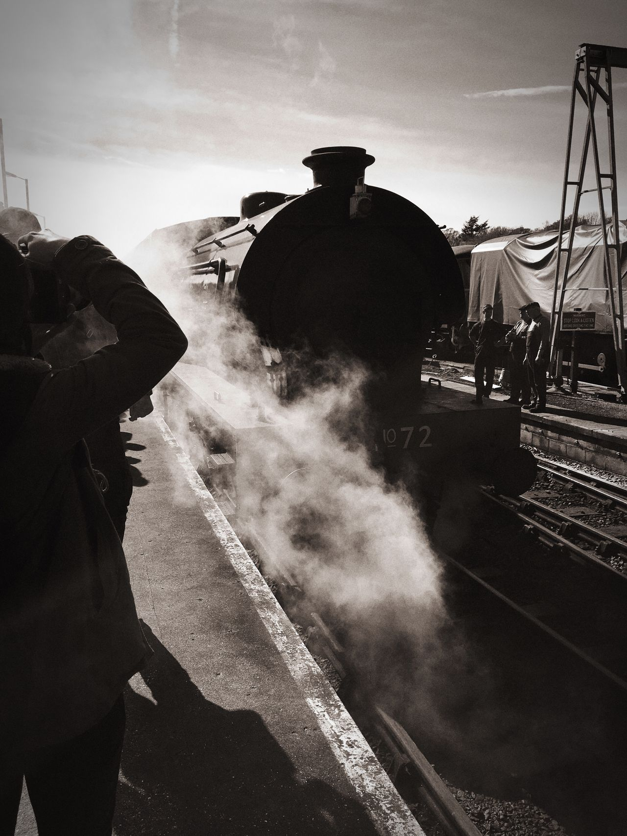 Old steam train pulling into the platform Steam Steamtrain Trains Trainstation Vintage Blackandwhite Oldschool Retro Monochrome Photography