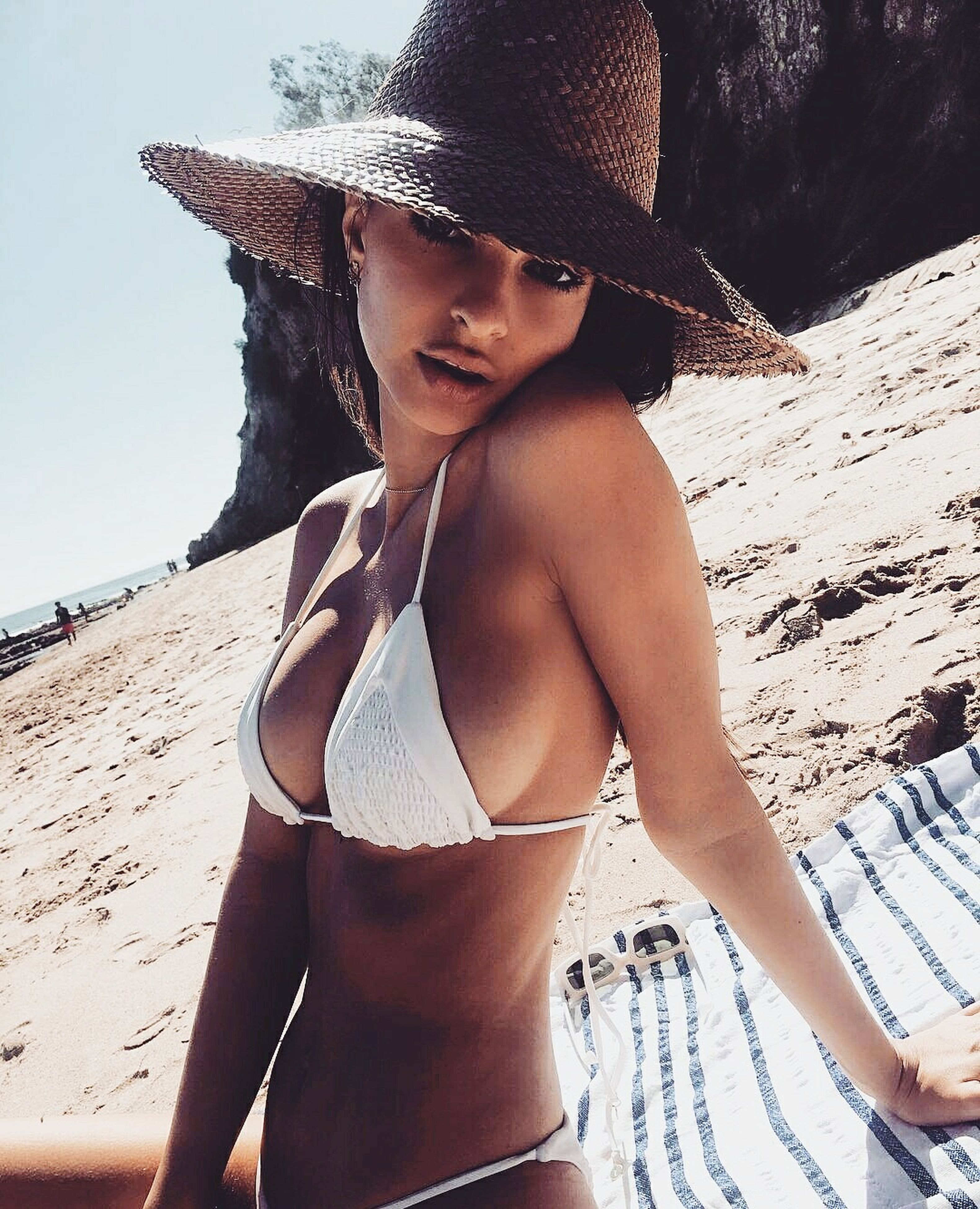 beach, beautiful people, bikini, beauty, sand, young adult, beautiful woman, relaxation, women, young women, vacations, swimwear, lifestyles, summer, sunlight, one person, outdoors, adult, only women, portrait, females, one young woman only, adults only, people, human body part, nature, day