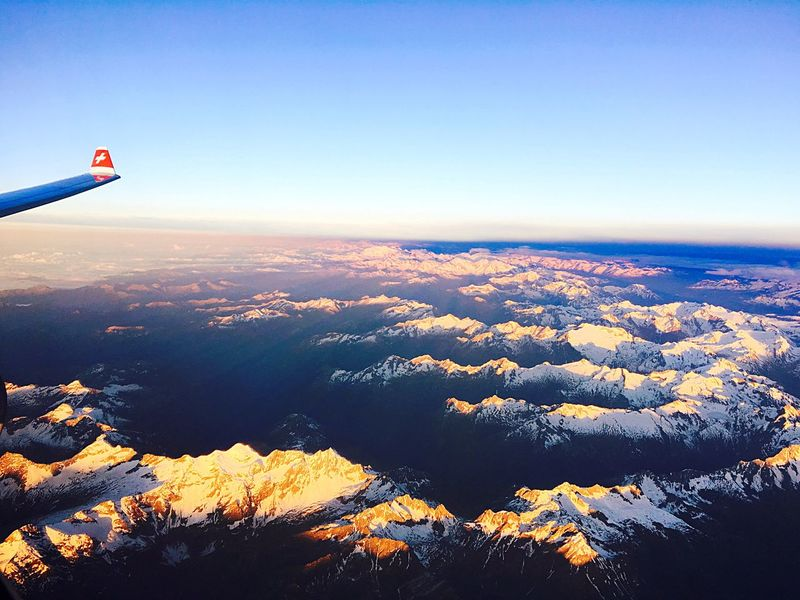 The Journey Is The Destination Sunrise SwissAlps! Swissairlines Arrival View Wing