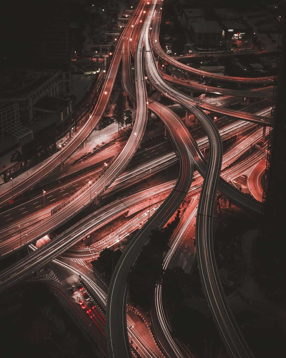 Veins. Urban Geometry Long Exposure Rooftops Traffic Transport Cities At Night Nightphotography Lighttrails Need For Speed