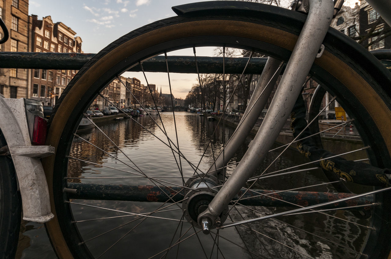 Amsterdam Canal Bicycle City Land Vehicle Mode Of Transport No People No People, Transportation Water Wheel