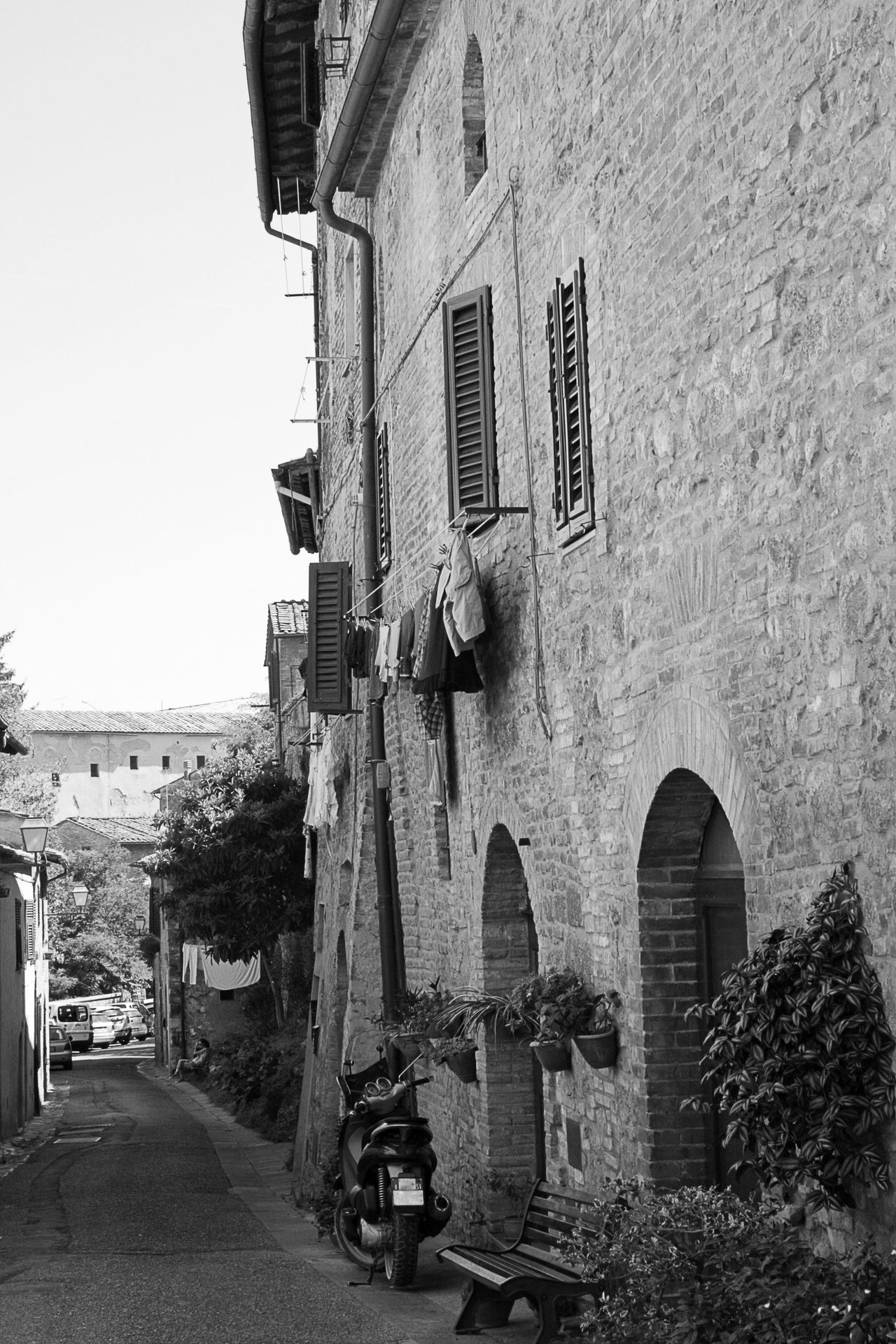 Architecture Building Exterior Built Structure City Day Italy No People Outdoors San Gimignano Scooter Sky Tuscany Vespa