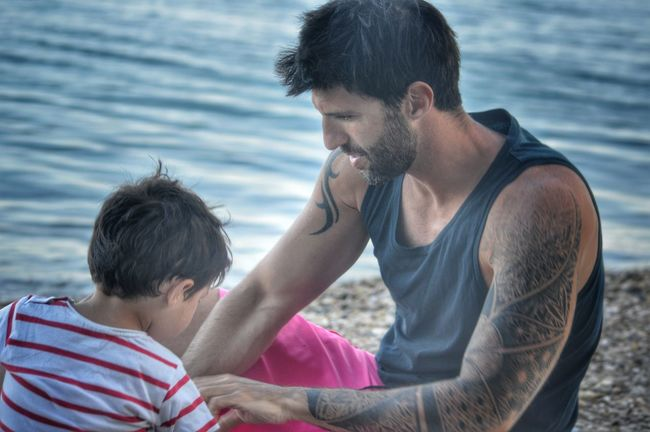 Fatherhood Moments Father & Son Family Matters Pricelessmoments  Connection Snapshots Of Life Bonding Pure Love Unconditional Love Real People Togetherness Memories Childhood Summer Views On The Beach My Son And I Fatherhood  Father Casual Clothing Capture The Moment Dad Love Quality Time Waterfront Tattoo Life