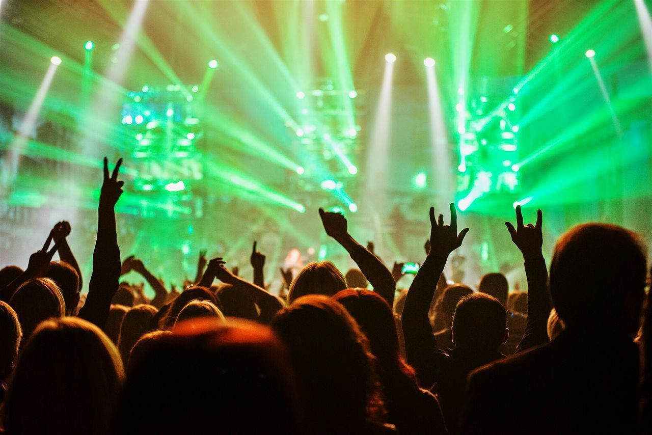 Beautiful stock photos of music festival, Arms Raised, Crowd, Electric Light, Enjoying