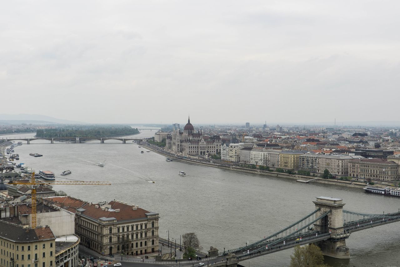 Postcard from Budapest Architecture Bridge - Man Made Structure Building Exterior Built Structure Chain Bridge City Cityscape High Angle View History Neighborhood Map Outdoors River Sky Suspension Bridge Travel Travel Destinations Urban Landscape Water