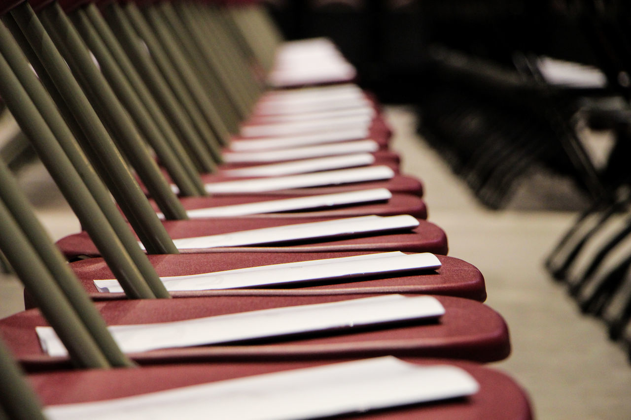 in a row, music, indoors, musical instrument, piano key, piano, no people, close-up, arrangement, selective focus, arts culture and entertainment, day