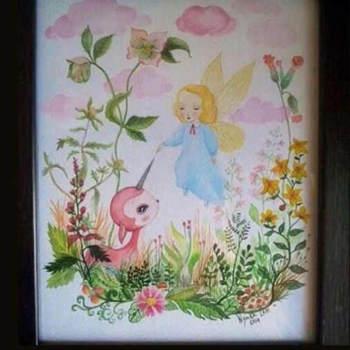 """""""Souls"""" made with love 1 20X30 Finishedwork Painting Watercolor Illustration tiny piece of art fairy with pink creature unicorn NymkaLkh Nymka Lkh © 2014 souls made with love1"""