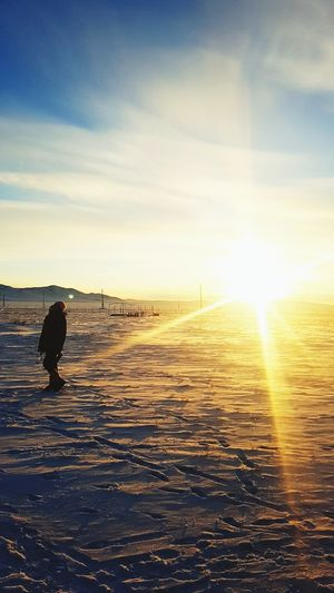 2018 Mongolia Sun Nature Freshness So Beautiful  ❤❤❤ Feel It Sky And Clouds Me Snow Bluesky Sunset In Winter So Perfect Sunlight Sky