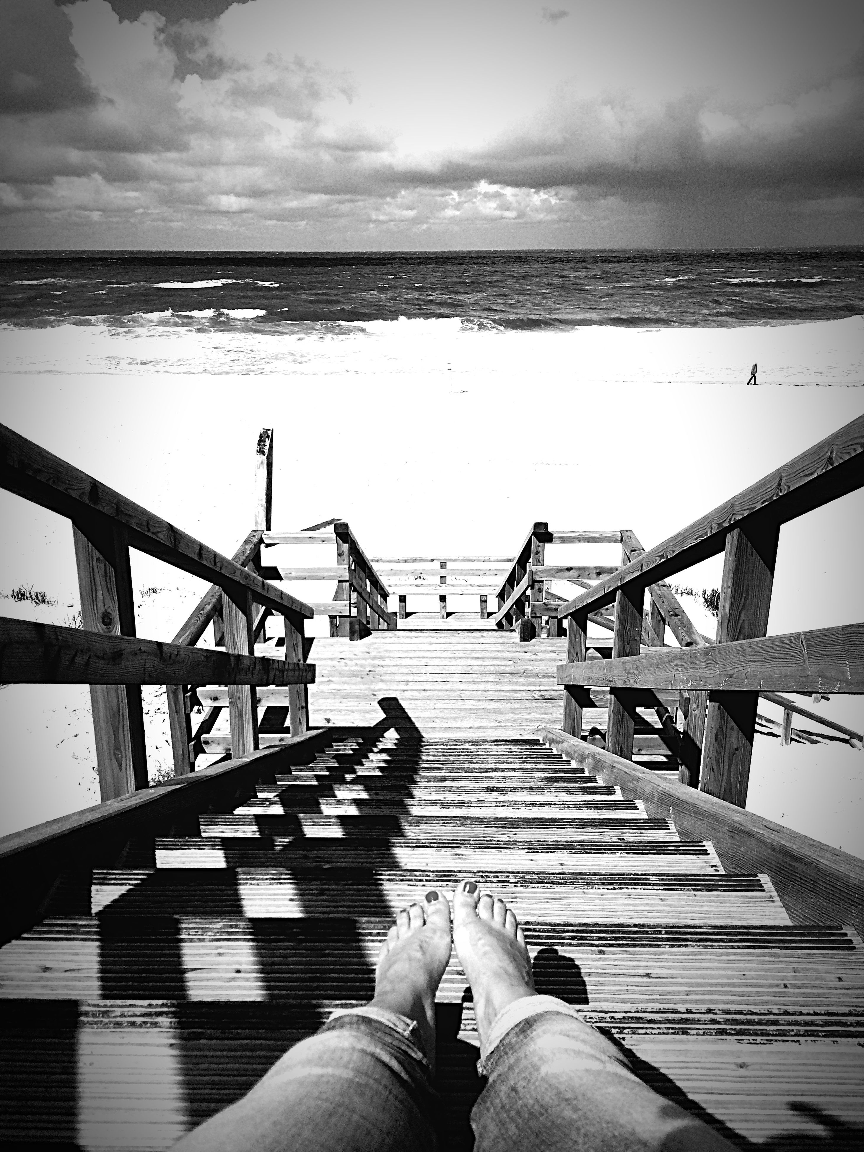 pier, railing, water, the way forward, sky, sea, wood - material, boardwalk, lifestyles, men, diminishing perspective, jetty, leisure activity, horizon over water, unrecognizable person, transportation, nature, sunlight