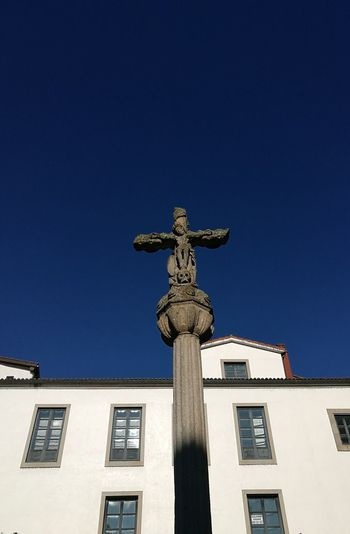 Cruceiro Cruise Statue Sculpture Architecture Building Exterior Low Angle View No People History Built Structure Sky Travel Destinations Day Clear Sky Outdoors Blue Representing Galicia, Spain Stone Stone Sculpture Stone Material