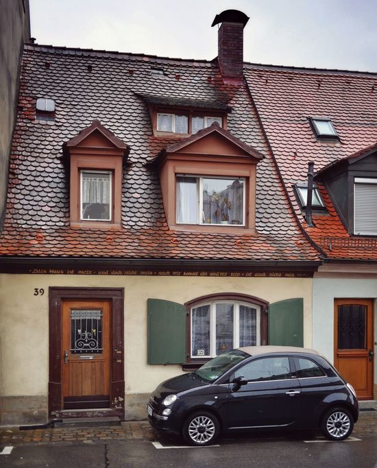 Small Car In Front Of Very Small Old House in Bamberg  Bavaria Bayern Germany Fiat 500 House Historical Building Historic Building Exterior Architecture Small But Beautiful Old But Awesome Old Buildings