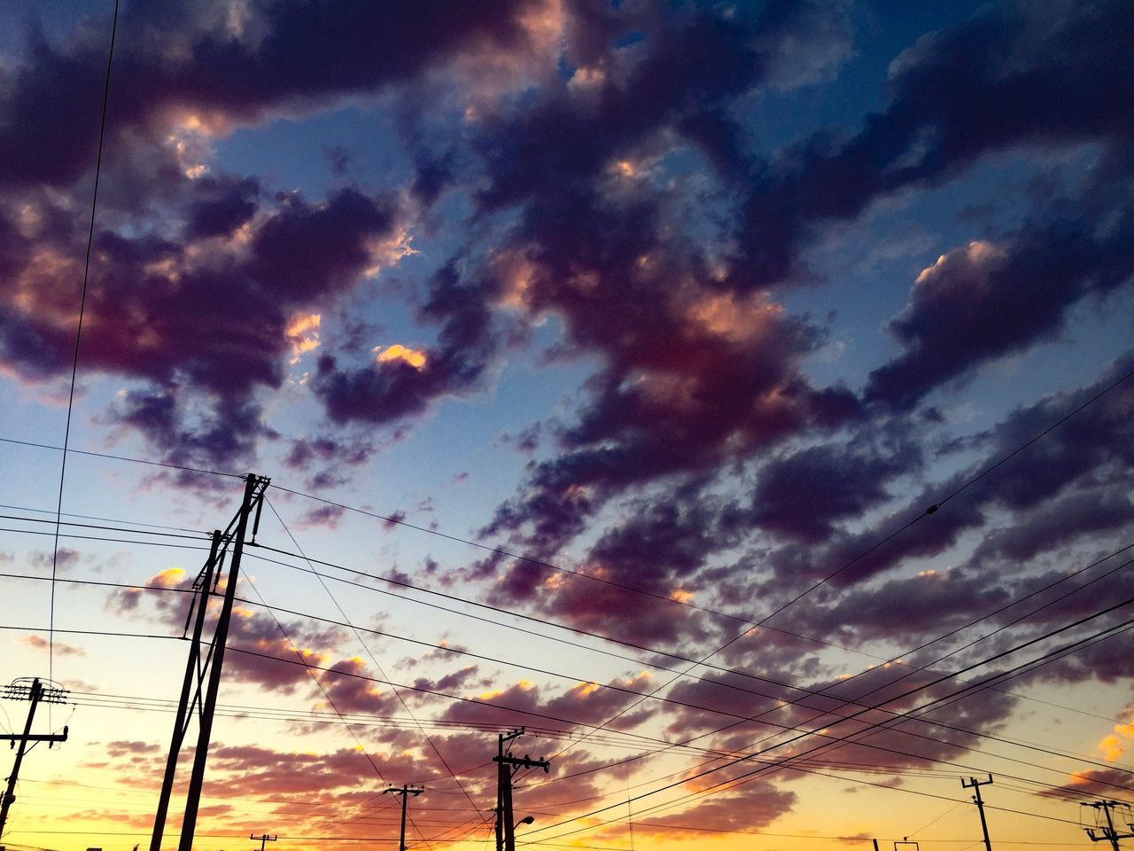 sunset, cloud - sky, cable, sky, power line, low angle view, electricity pylon, connection, silhouette, no people, power supply, electricity, nature, technology, communication, outdoors, scenics, beauty in nature, telephone line, day