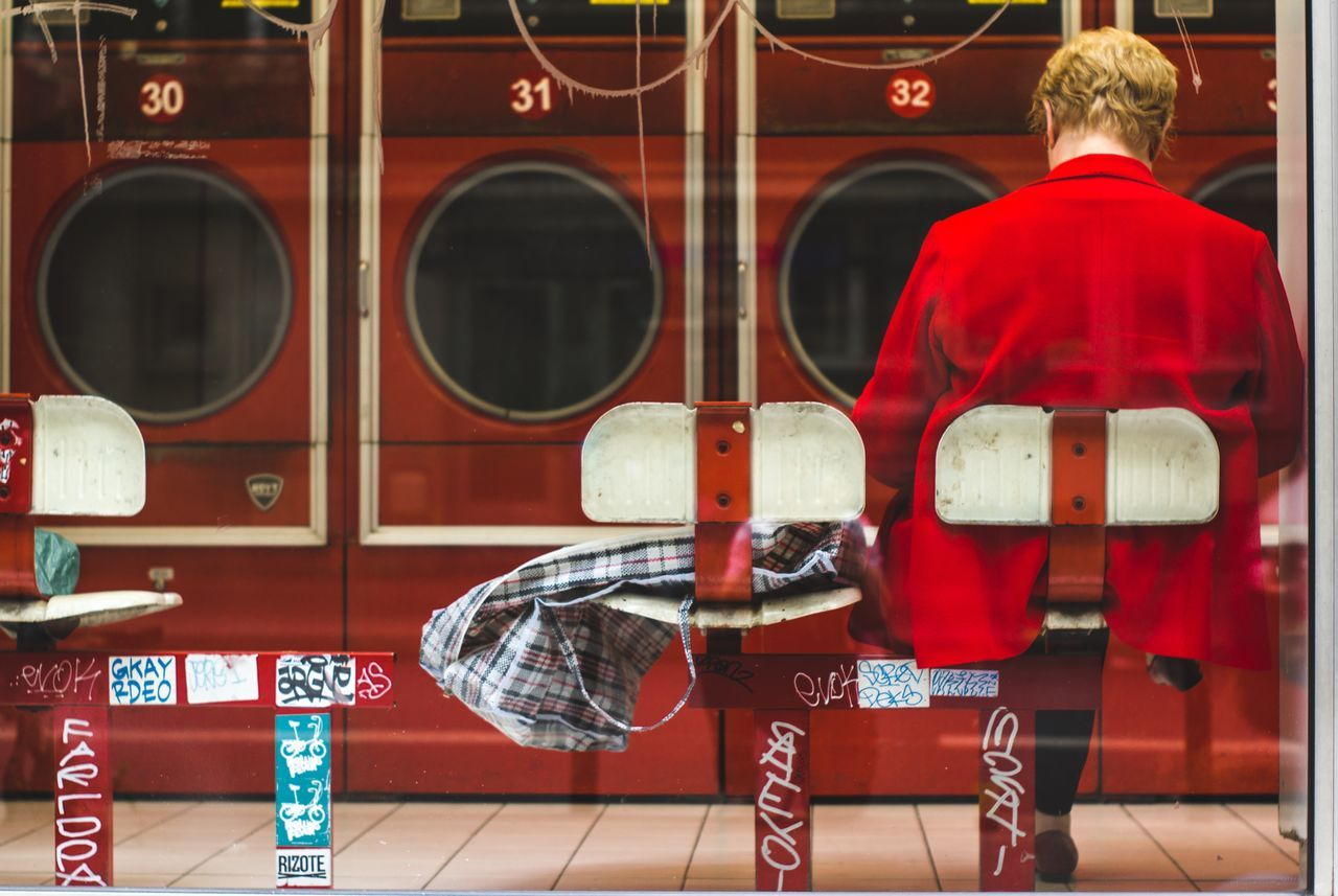 Back Laundromat Laverie Minolta Lenses Paris Paris ❤ Paris, France  People Red Redisred Sony Street Photography Streetphotography Waiting Washing Machine