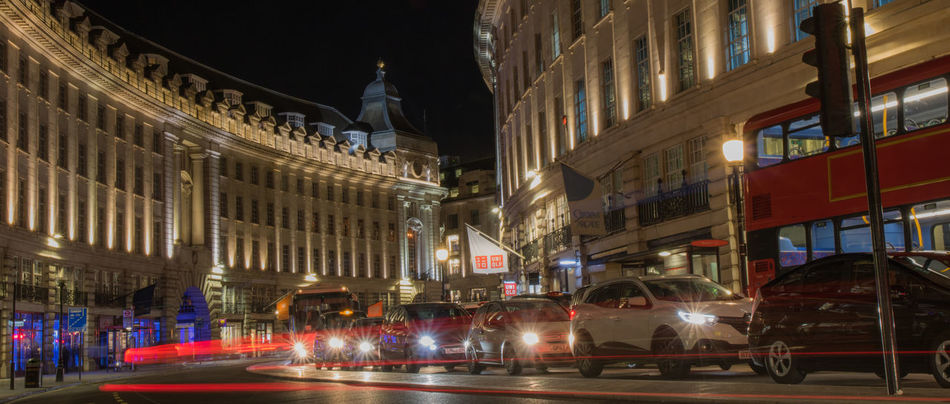 Architecture Blurred Motion Building Exterior Built Structure City City Life City Scene Illuminated London Bus London Buses Long Exposure Motion Motion Blur Night No People Outdoors Speed Street Traffic Transportation Travel Destinations