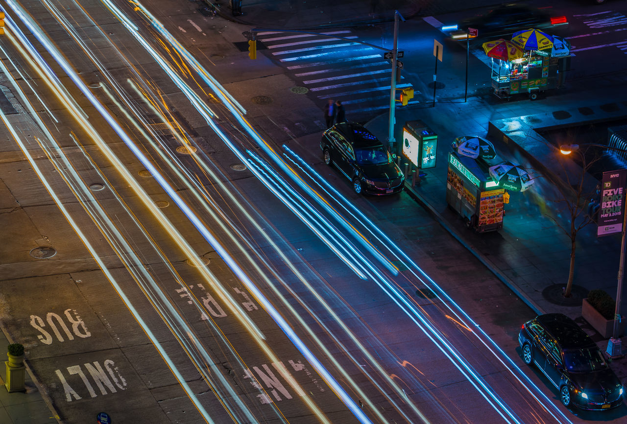 Illuminated Night High Angle View Transportation City Light Trail Aerial View Street Light Traffic City Street City Life Long Exposure Cityscape Motion Road Outdoors New York City Mahnattan Highway America Nikon Nikon Photography Colour Of Life EyeEm Best Shots Long Exposures