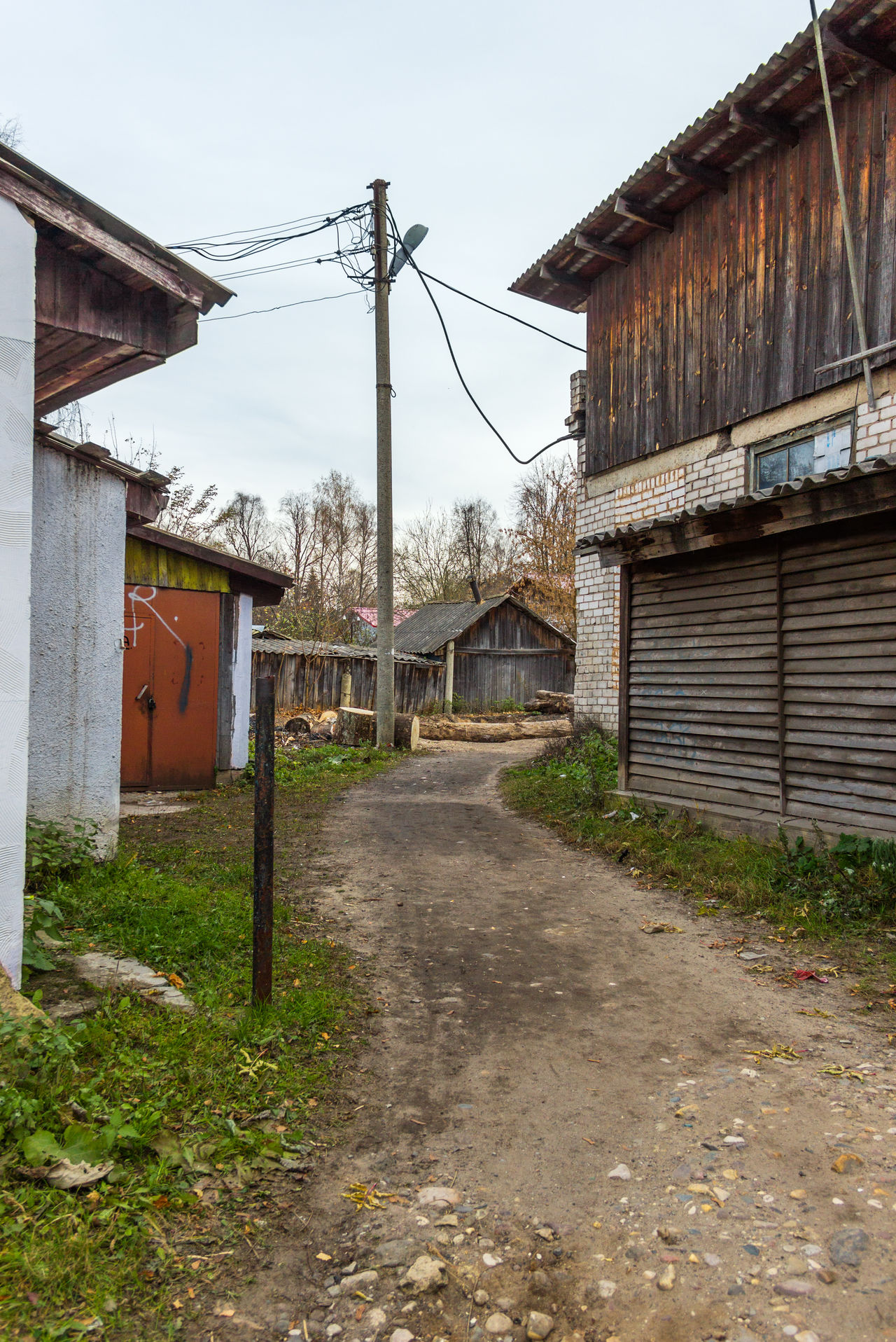 The back streets of a provincial town. The path on which people shorten the way between two streets of a provincial town. Architecture Building Exterior Built Structure Day House Nature No People Outdoors Province Provincetown  Residential Building Russia Sky Village