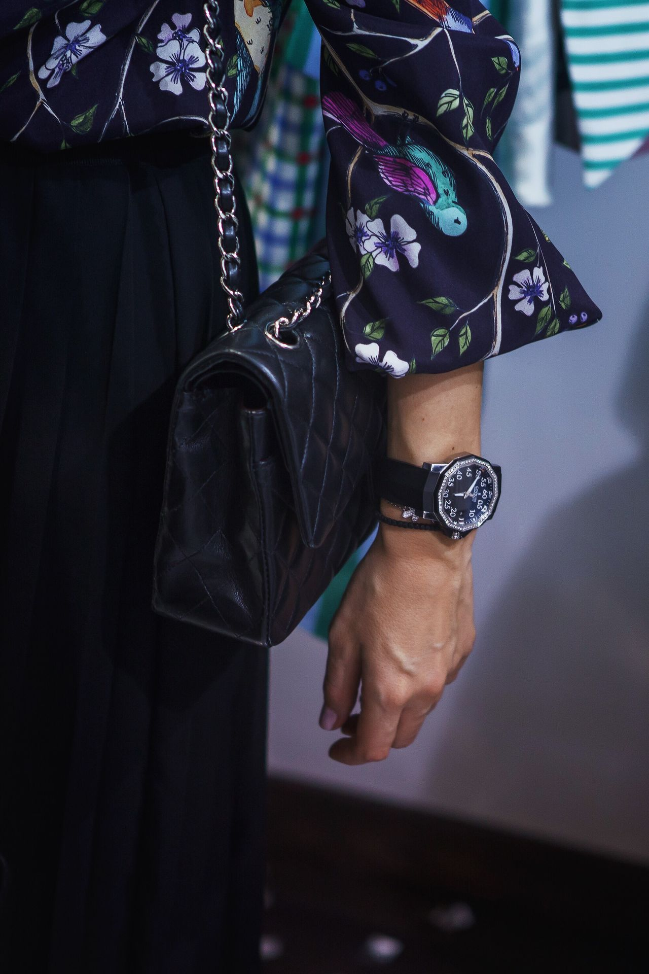 Real People One Person Lifestyles Midsection Women Close-up Day Indoors  Human Body Part Adult People Bag Watch Style Fashion Hand Accesories
