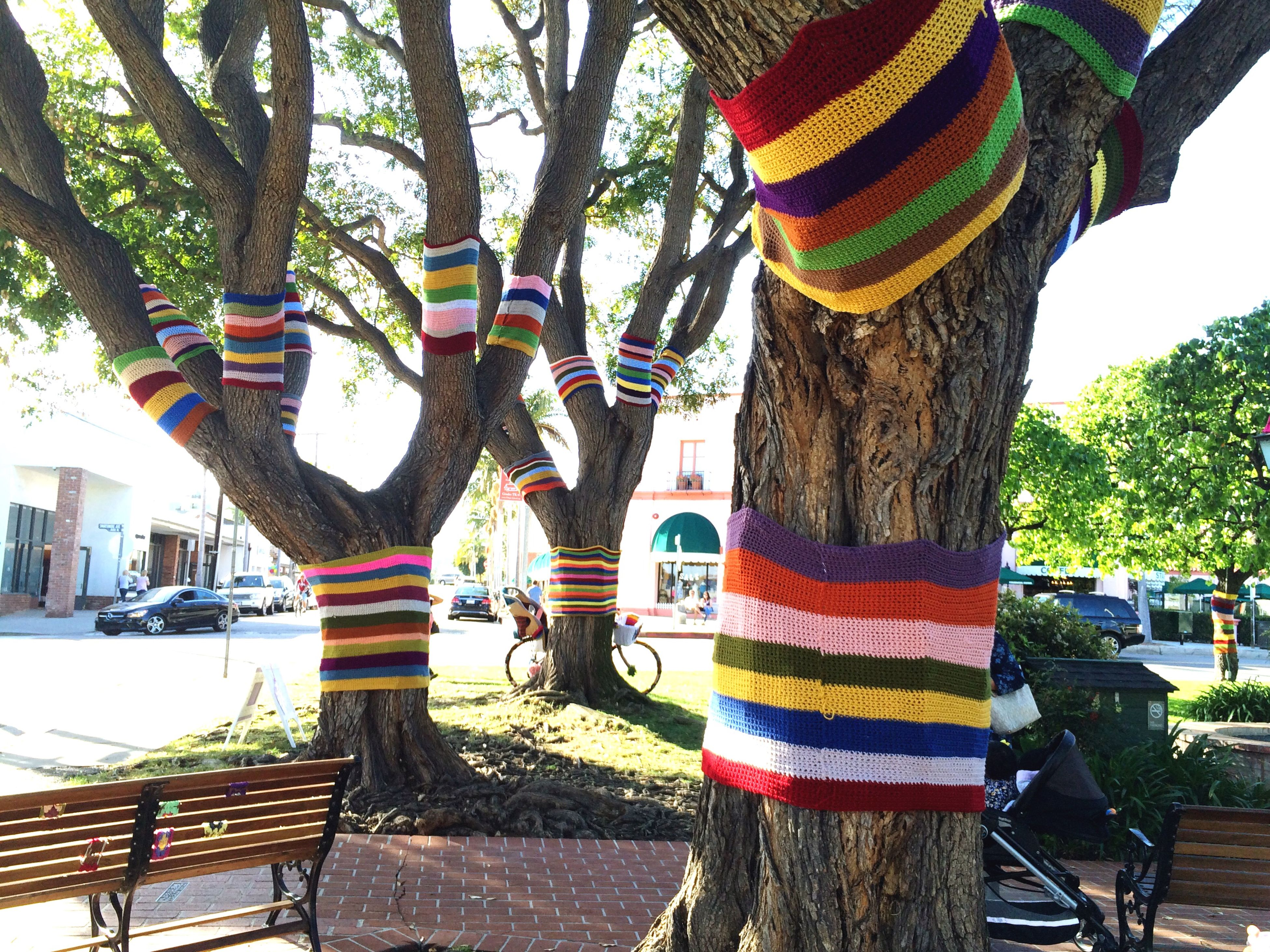 tree, tree trunk, hanging, incidental people, sunlight, day, in a row, outdoors, growth, flag, park - man made space, branch, transportation, nature, sky, street, road, pole, no people, patriotism